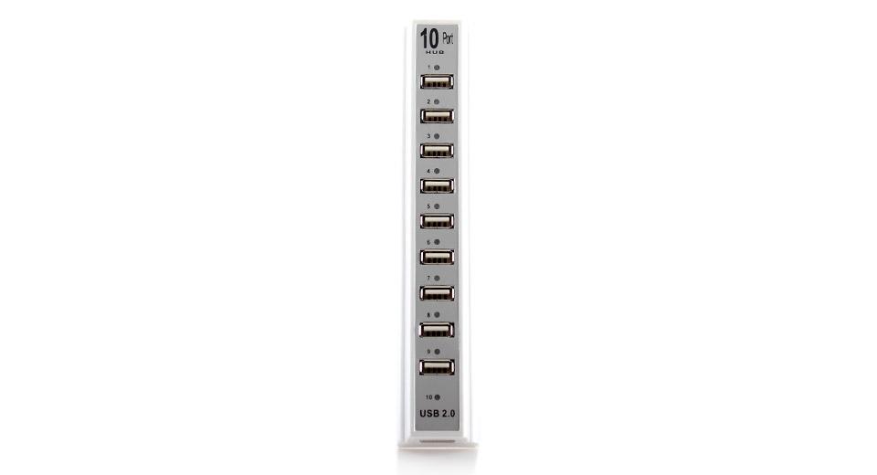מפצל USB עם 10 כניסות וחיבור לספק כוח