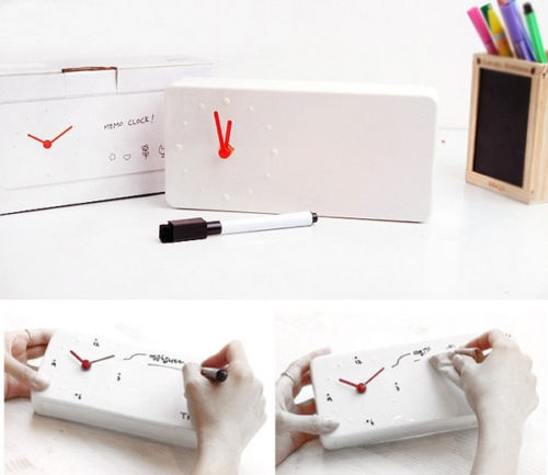 שעון עם לוח ועט מחיק לעיצוב עצמי