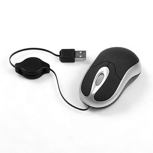 עכבר אופטי מיני עם כבל נמתח USB