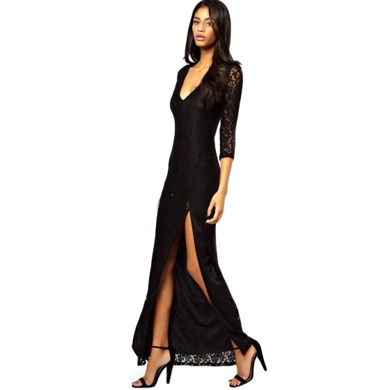שמלת מקסי תחרה שסע