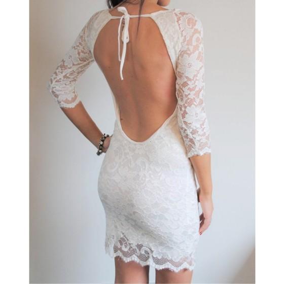 שמלת מיני תחרה גב פתוח
