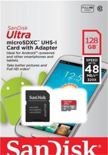 כרטיס זיכרון SanDisk 128GB עם מתאם microSD