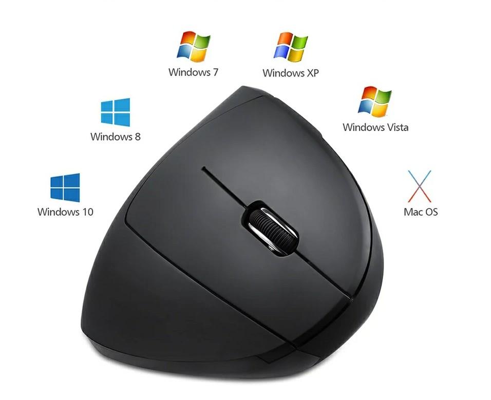 עכבר ארגונומי אלחוטי אנכי אורטופדי 6 כפתורים 2.4G וכבל