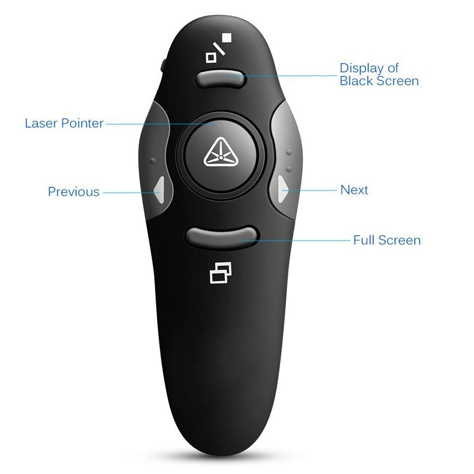 שלט מצגות אלחוטי 5 כפתורים עם ציין לייזר אדום