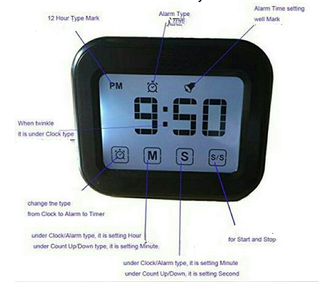 שעון עם מד טמפרטורה וטיימר מסך מגע תצוגה גדולה עם תאורה ברקע