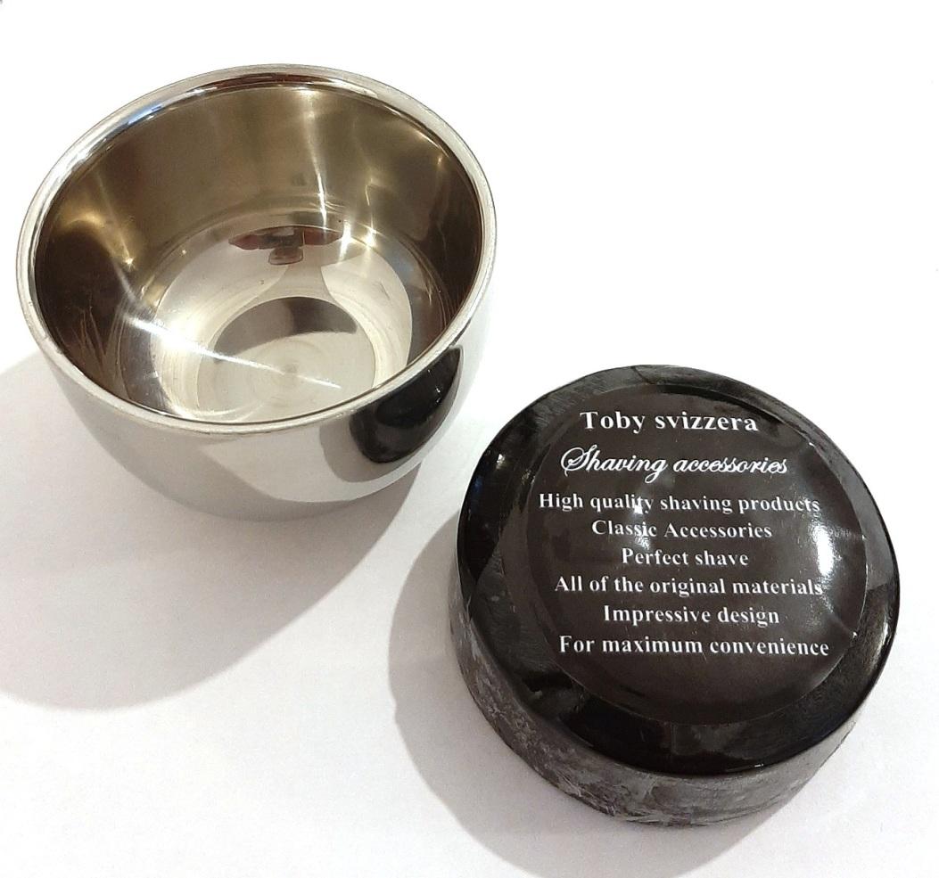 קערת גילח מנירוסטה כולל סבון גילוח איכותי