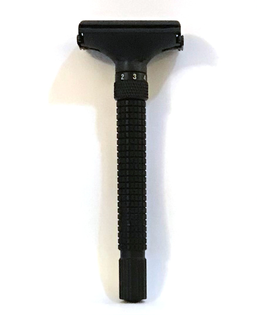 סכין גילוח מתכווננת בפתיחת פרפר שחור TS68B