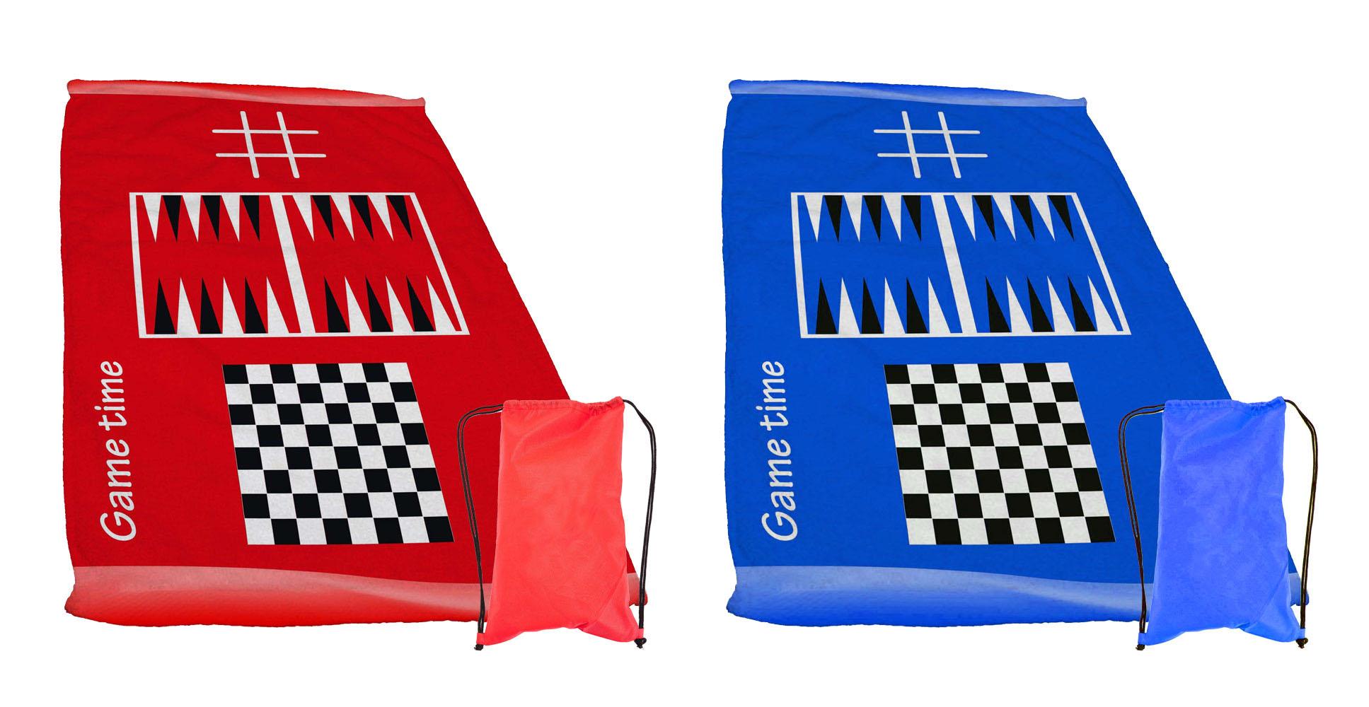 מגבת חוף מעוצבת וגדולה עם 3 משחקים דגם פיפו