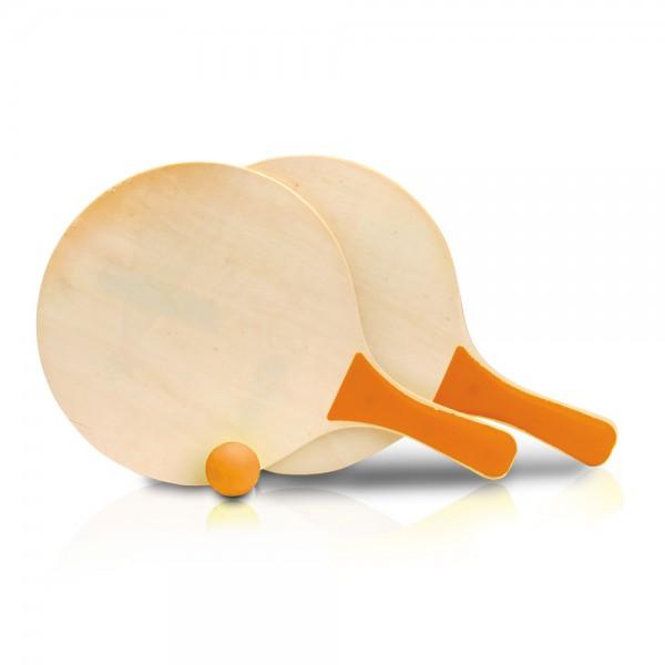 זוג מטקות עם ידית צבעונית וכדור תואם דגם רוקט