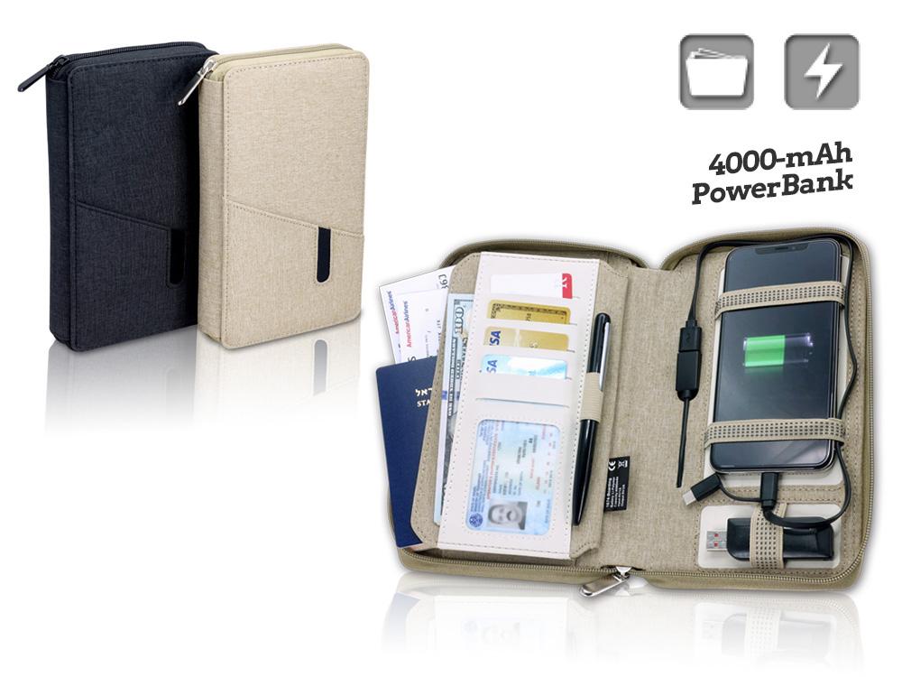 מטען פאוור בנק סוללת גיבוי +נרתיק נסיעות power bank 4000mah מובנה