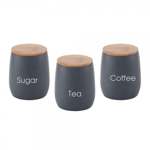 סט 3 חלקים לאחסון סוכר קפה תה דגם קוקיז
