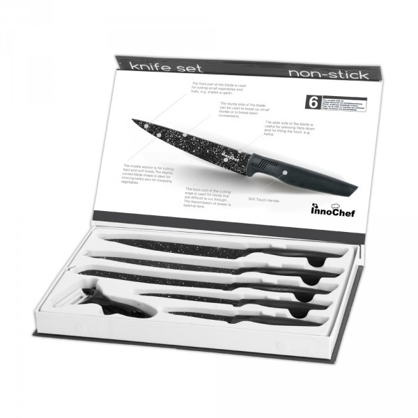 סט 5 סכיני מטבח איכותיים וקולפן בציפוי NONSTICK דגם שף