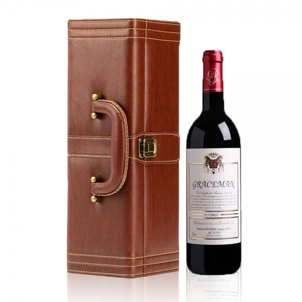 מארז מהודר יין מקצועי עור מגוון אביזרי יין וידית נשיאה דגם ריזלינג