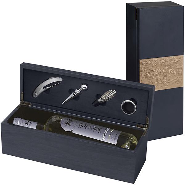 מארז עץ לבקבוק יין עם לוחית ואביזרים ליין דגם לוחית