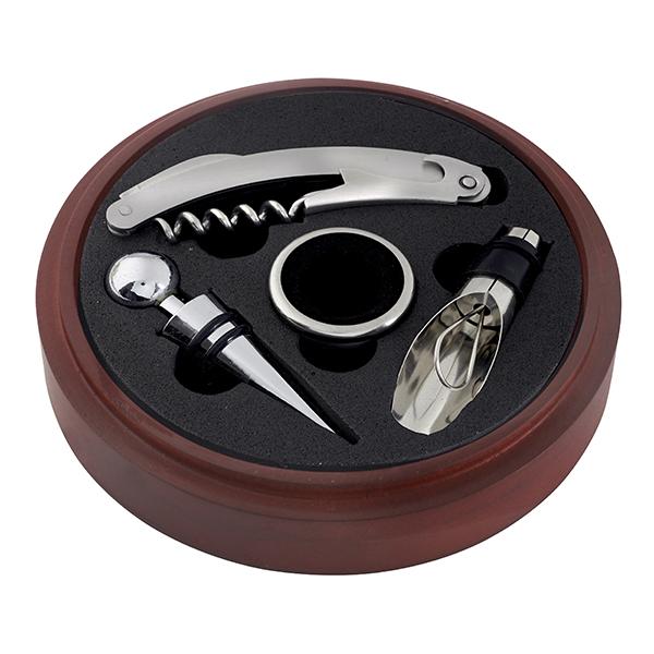 מארז 4 חלקים ליין בקופסאת עץ מהגוני עגולה דגם עץ מהגוני