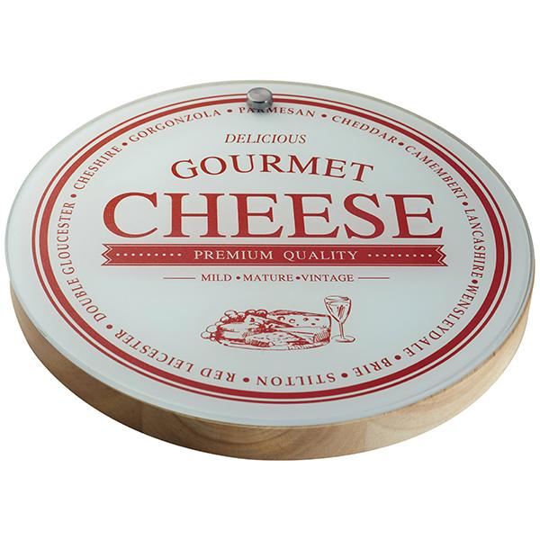 סט יוקרתי לחיתוך והגשת גבינות  כולל מגש זכוכית מעוטרת