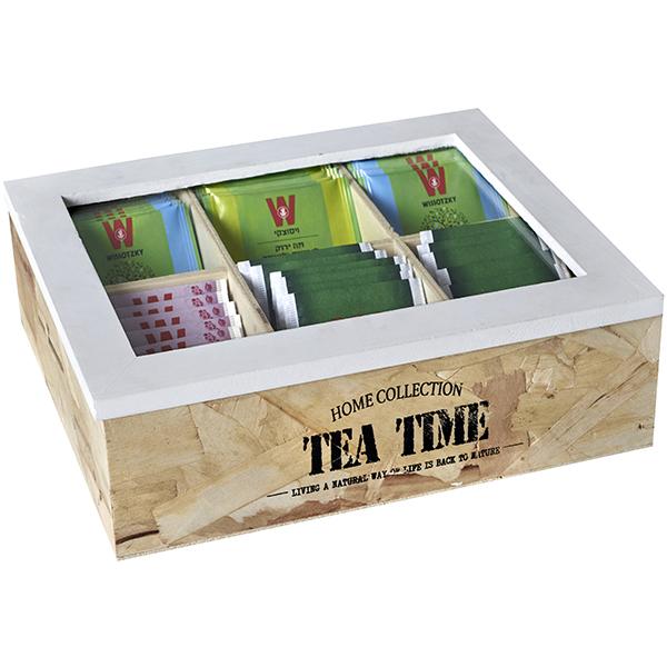 מארז עץ טבעי לתה, דגם 6 תאים