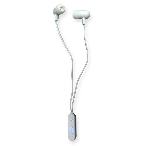 אוזניות בלוטוט אלחוטיות  במארז מבחנה עם פקק סיליקון ושאקל לתלייה
