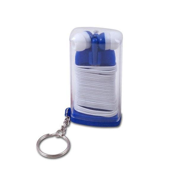אוזניות קומפקטיות במארז שקוף עם בסיס סיליקון ושרשרת מחזיק מפתחות