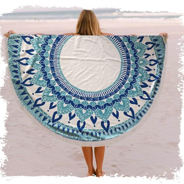 מגבת חוף עגולה ענקית מועצבת עם פרנזים דגם מנדלה