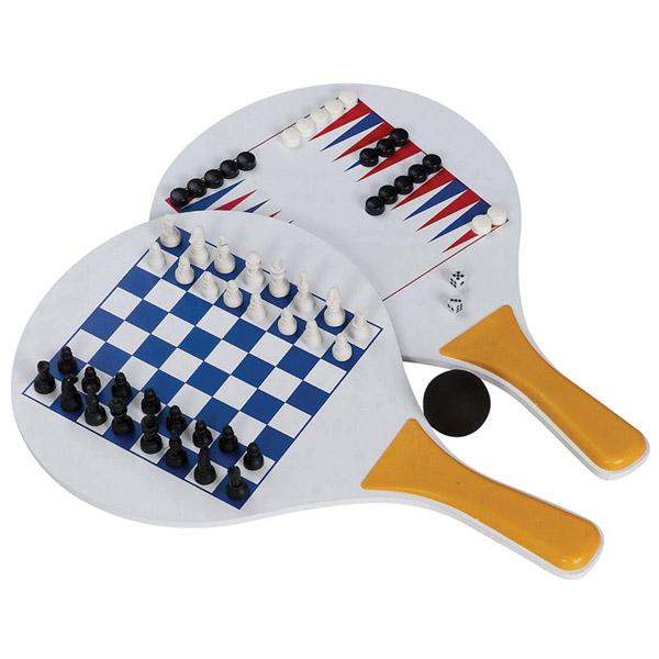 זוג מטקות עם משחק שחמט, שש-בש ודמקה  לבן בתיק נשיאה