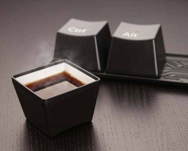 סט 3 קעריות / ספלי קפה בעיצוב מקשי מקלדת Ctrl Alt Del