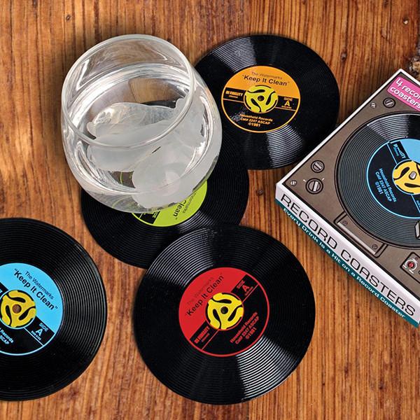 סט תחתיות לכוסות - בעיצוב תקליטים וינטאג'