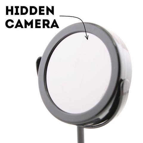 מצלמה נסתרת מוסלקת עם שלט רחוק - מראה לאיפור