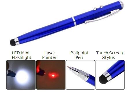 עט כדורי יוקרתי רב שימושי -  עם פנס, לייזר ועט מגע